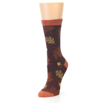 Image of Brown Autumn Leaves Women's Bamboo Dress Socks (side-2-front-08)