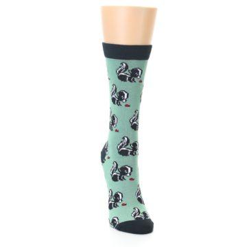 Image of Green Black Skunks Women's Bamboo Dress Socks (side-1-front-03)