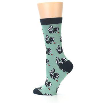 Image of Green Black Skunks Women's Bamboo Dress Socks (side-2-12)