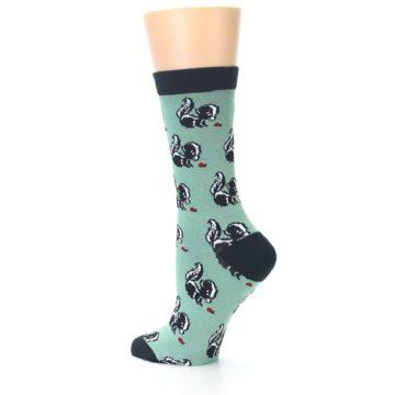 Image of Green Black Skunks Women's Bamboo Dress Socks (side-2-13)