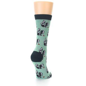 Image of Green Black Skunks Women's Bamboo Dress Socks (side-1-back-20)