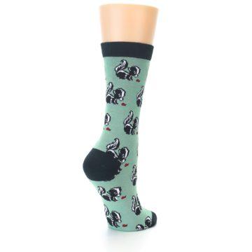 Image of Green Black Skunks Women's Bamboo Dress Socks (side-1-back-21)