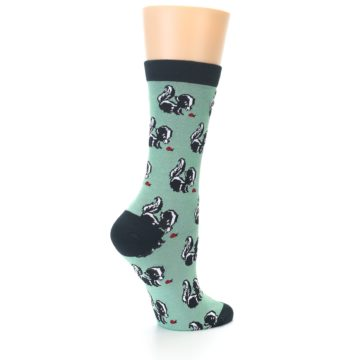 Image of Green Black Skunks Women's Bamboo Dress Socks (side-1-back-22)