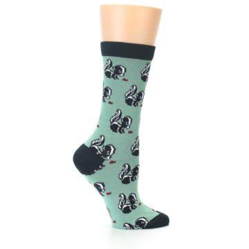 Image of Green Black Skunks Women's Bamboo Dress Socks (side-1-24)