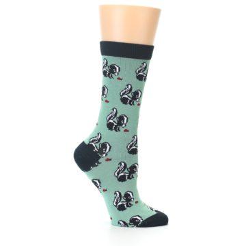 Image of Green Black Skunks Women's Bamboo Dress Socks (side-1-25)