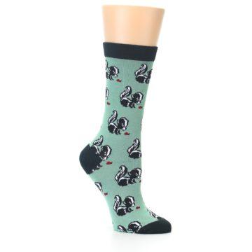 Image of Green Black Skunks Women's Bamboo Dress Socks (side-1-26)