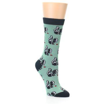 Image of Green Black Skunks Women's Bamboo Dress Socks (side-1-27)