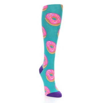 Image of Teal Donuts Women's Knee High Socks (side-1-front-02)