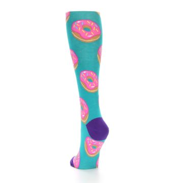 Image of Teal Donuts Women's Knee High Socks (side-2-back-16)