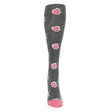 Image of Grey Pink Roses Women's Knee High Socks (front-04)