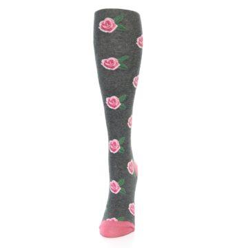 Image of Grey Pink Roses Women's Knee High Socks (side-2-front-06)
