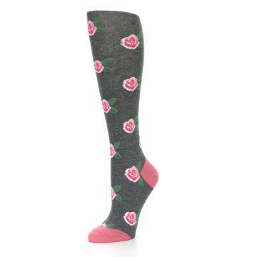 Image of Grey Pink Roses Women's Knee High Socks (side-2-09)