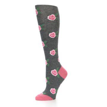 Image of Grey Pink Roses Women's Knee High Socks (side-2-10)