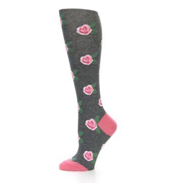 Image of Grey Pink Roses Women's Knee High Socks (side-2-11)