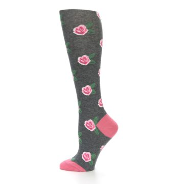 Image of Grey Pink Roses Women's Knee High Socks (side-2-12)