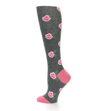 Image of Grey Pink Roses Women's Knee High Socks (side-2-13)