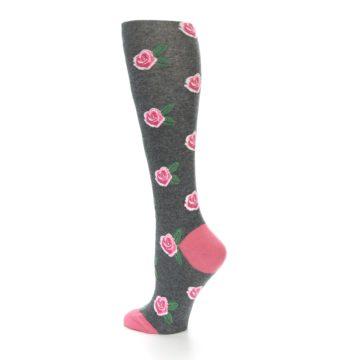 Image of Grey Pink Roses Women's Knee High Socks (side-2-back-14)