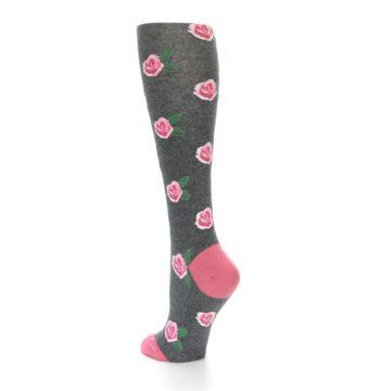 Image of Grey Pink Roses Women's Knee High Socks (side-2-back-15)