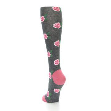 Image of Grey Pink Roses Women's Knee High Socks (side-2-back-16)