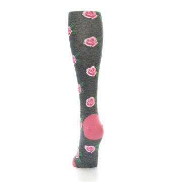 Image of Grey Pink Roses Women's Knee High Socks (back-17)