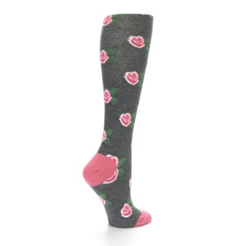 Image of Grey Pink Roses Women's Knee High Socks (side-1-23)
