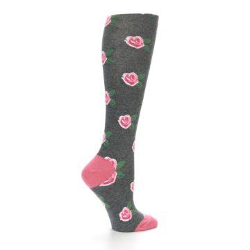 Image of Grey Pink Roses Women's Knee High Socks (side-1-24)
