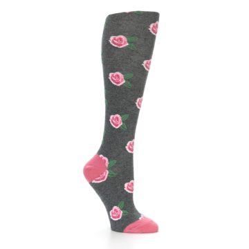 Image of Grey Pink Roses Women's Knee High Socks (side-1-26)