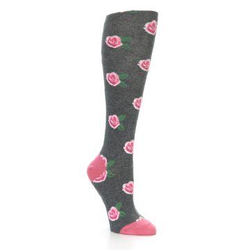 Image of Grey Pink Roses Women's Knee High Socks (side-1-27)