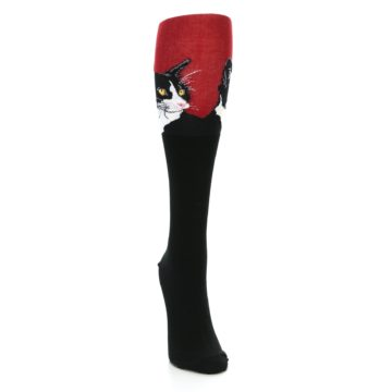 Image of Black Red Cat Women's Knee High Socks (side-1-front-03)