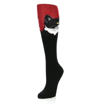 Image of Black Red Cat Women's Knee High Socks (side-2-front-08)