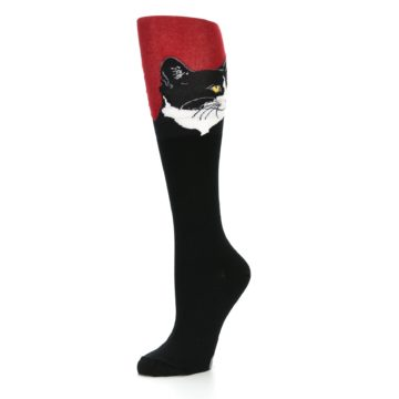 Image of Black Red Cat Women's Knee High Socks (side-2-09)