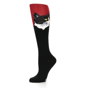 Image of Black Red Cat Women's Knee High Socks (side-2-10)