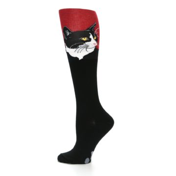 Image of Black Red Cat Women's Knee High Socks (side-2-12)