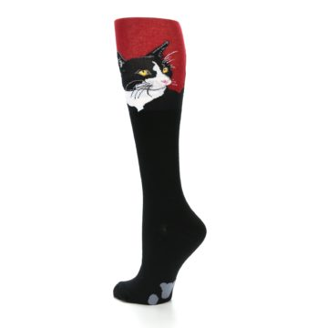 Image of Black Red Cat Women's Knee High Socks (side-2-back-14)