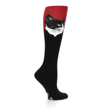 Image of Black Red Cat Women's Knee High Socks (side-1-24)