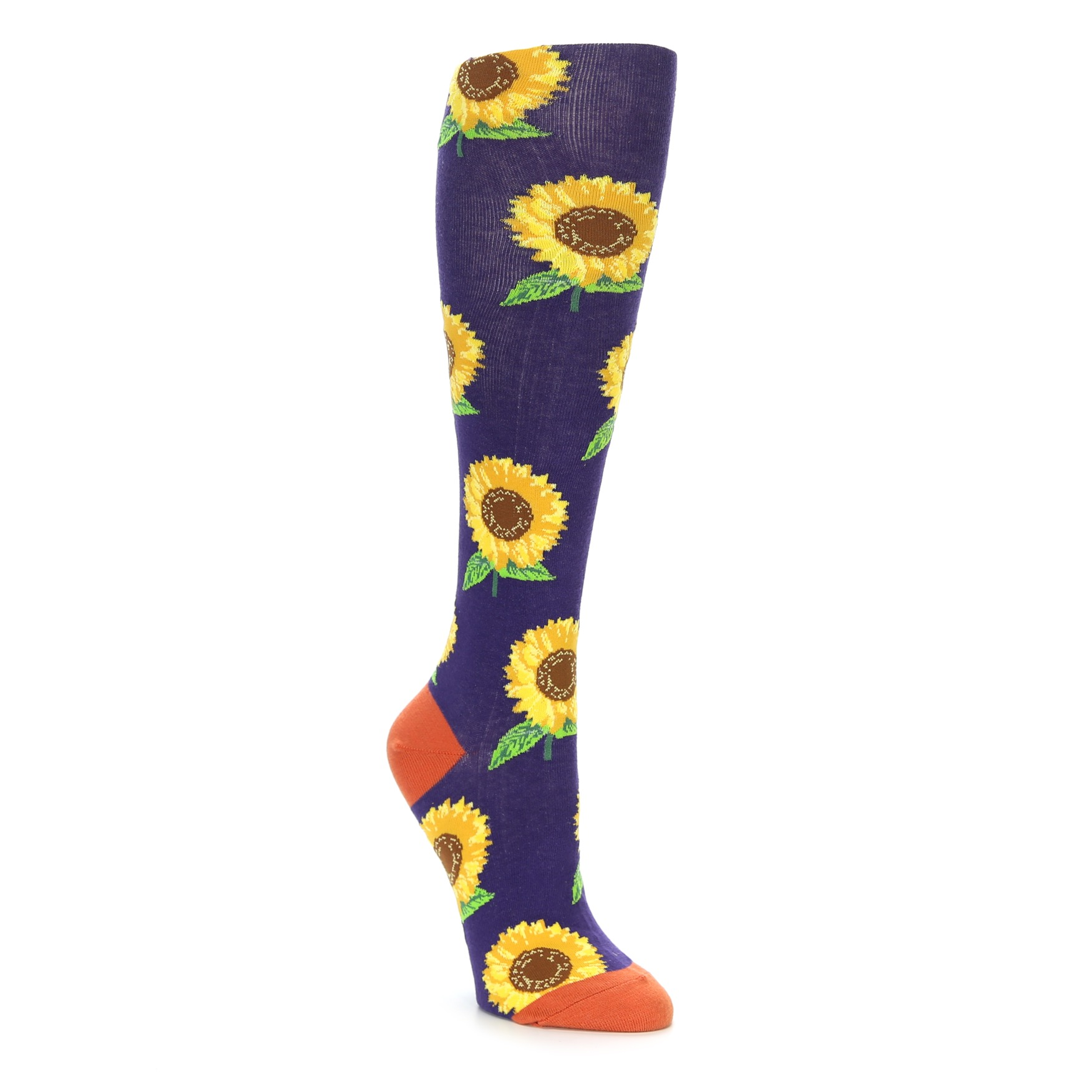 1fb3041dd20ed Purple Yellow Sunflowers Women's Knee High Socks | boldSOCKS