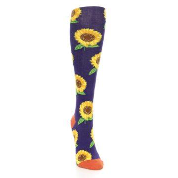 Image of Purple Yellow Sunflowers Women's Knee High Socks (side-1-front-03)