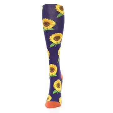 Image of Purple Yellow Sunflowers Women's Knee High Socks (side-2-front-06)