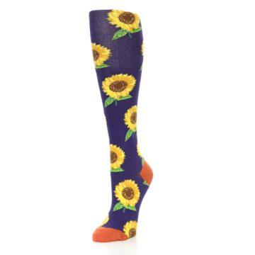 Image of Purple Yellow Sunflowers Women's Knee High Socks (side-2-front-08)