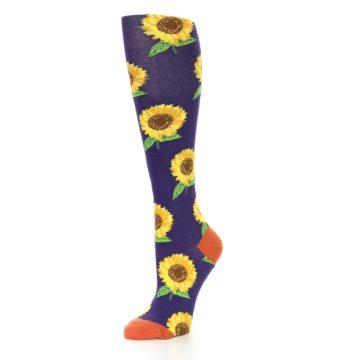 Image of Purple Yellow Sunflowers Women's Knee High Socks (side-2-09)