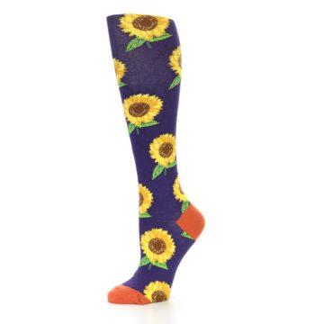 Image of Purple Yellow Sunflowers Women's Knee High Socks (side-2-10)