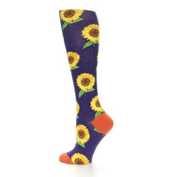 Image of Purple Yellow Sunflowers Women's Knee High Socks (side-2-13)