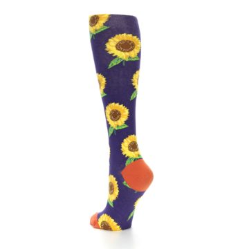 Image of Purple Yellow Sunflowers Women's Knee High Socks (side-2-back-15)
