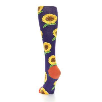 Image of Purple Yellow Sunflowers Women's Knee High Socks (side-2-back-16)
