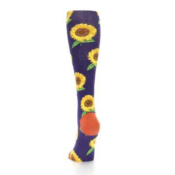 Image of Purple Yellow Sunflowers Women's Knee High Socks (back-17)
