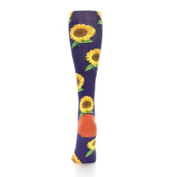 Image of Purple Yellow Sunflowers Women's Knee High Socks (back-18)