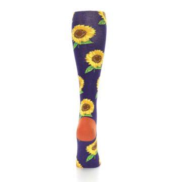 Image of Purple Yellow Sunflowers Women's Knee High Socks (back-19)
