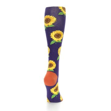 Image of Purple Yellow Sunflowers Women's Knee High Socks (side-1-back-20)