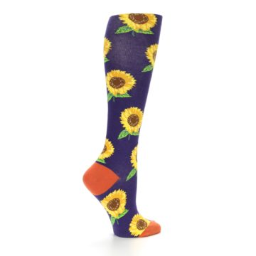 Image of Purple Yellow Sunflowers Women's Knee High Socks (side-1-24)