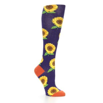 Image of Purple Yellow Sunflowers Women's Knee High Socks (side-1-26)